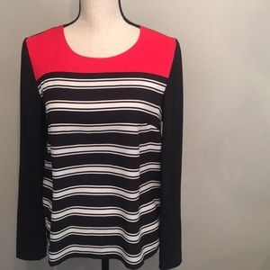Ann Taylor black, red and white long sleeve blouse